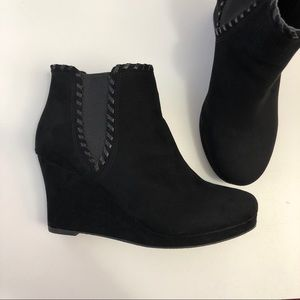 Report Faux Suede Wedge Ankle Booties
